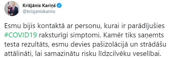 Премьер Латвии самоизолировался после контакта с больным COVID-19